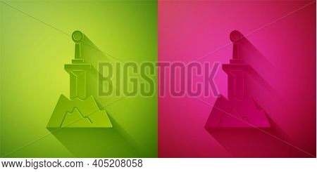 Paper Cut Sword In The Stone Icon Isolated On Green And Pink Background. Excalibur The Sword In The