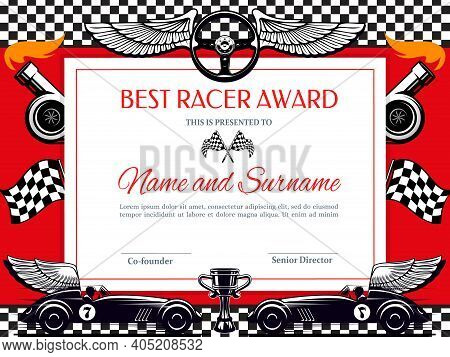 Best Racer Award Diploma Vector Template. Racing Winner Border With Black And White Chequered Flag,
