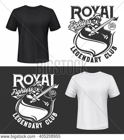 Knight In Armor T-shirt Mockup Fighters Club Emblem, Vector Badge. Medieval Knight Man Warrior In Ar