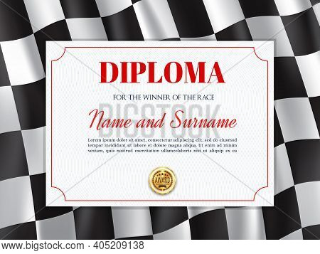 Race Winner Diploma, Certificate Vector Template For Rally Participation Or Best Result Achievement.