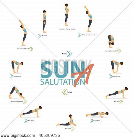 Infographic Of 12 Yoga Poses For Yoga At Home In Concept Of Yoga Sun Salutation A In Flat Design. Wo