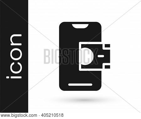 Black Mobile Banking Icon Isolated On White Background. Transfer Money Through Mobile Banking On The