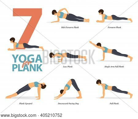 Infographic Of 7 Yoga Poses For Yoga At Home In Concept Of Plank Poses  In Flat Design. Woman Exerci