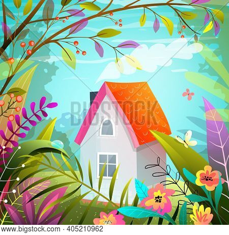 Tiny House In The Woods, Imaginary Magic Hand Drawn Illustration In Gouache Colorful Style . Postcar