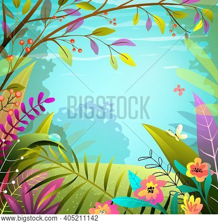 Fairy Forest Or Jungle Background, Green And Colorful Lush Foliage, Trees And Grass. Magic Landscape
