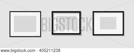 Set Of Black Photo Or Picture Frames With White Mat And Shades Isolated On Gray Background. Vector I