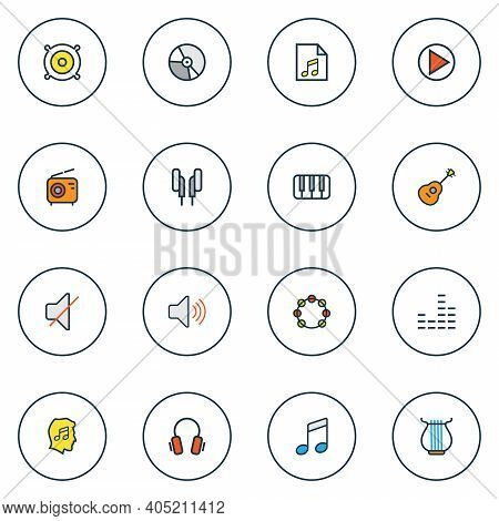 Audio Icons Colored Line Set With Start, Speaker, Headphone And Other Keys Elements. Isolated Vector