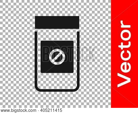Black Sports Doping, Anabolic Drugs Icon Isolated On Transparent Background. Anabolic Steroids Table