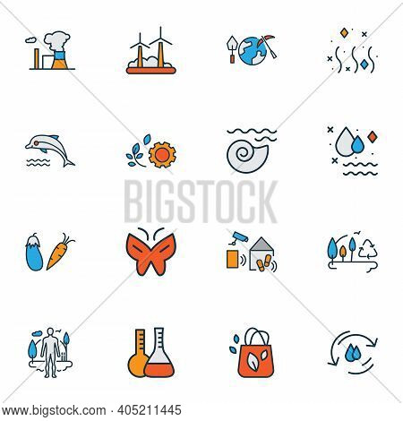 Environment Icons Colored Line Set With Fresh Air, Afforestation, Vegetables And Other Fin Elements.