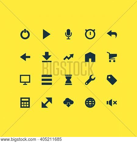 User Icons Set With Audio, Resize, Down Arrow And Other Cloud Elements. Isolated Vector Illustration