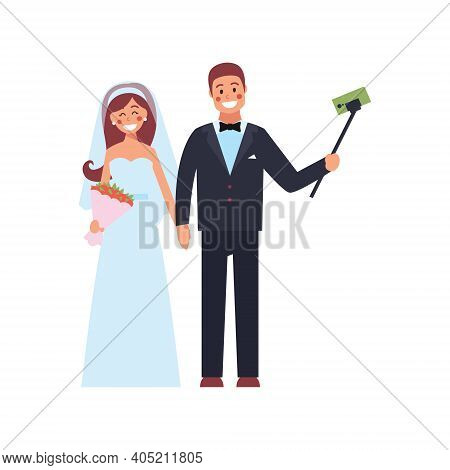 The Bride And Groom Take A Selfie. Photo Of Happy Newlyweds. Vector Illustration