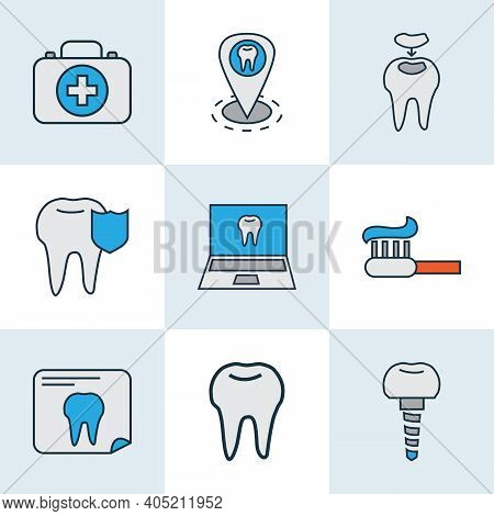 Dental Icons Colored Line Set With Dentist Location, Dental Implant, Dental Fillings And Other Ename