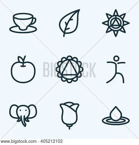 Spiritual Icons Line Style Set With Elephant, Ornament, Leaf And Other Splash Elements. Isolated Vec