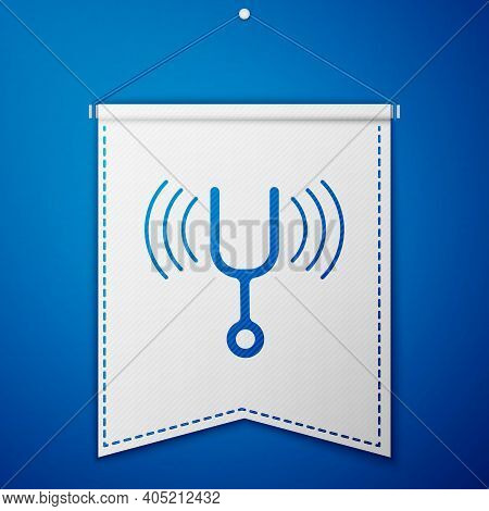 Blue Musical Tuning Fork For Tuning Musical Instruments Icon Isolated On Blue Background. White Penn