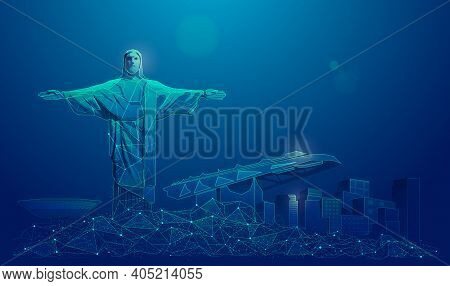 Graphic Of Rio De Janeiro City Presented In Low Poly Futuristic Style