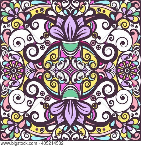 Floral Abstract Ornament, Bright Colorful Pastel Pattern, Multicolored Background, Ethnic Tracery, H