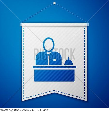 Blue Receptionist Standing At Hotel Reception Desk Icon Isolated On Blue Background. White Pennant T