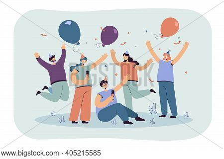Cheerful Friends Celebrating At Party Together Isolated Flat Vector Illustration. Cartoon Excited Ch