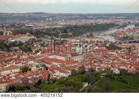 Prague, Czech - April 24, 2012: This Is An Aerial View Of The Old Mala Strana District.