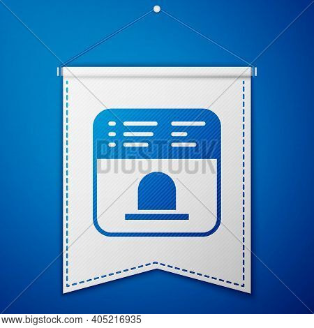 Blue Ticket Office To Buy Tickets For Train Or Plane Icon Isolated On Blue Background. Buying Ticket
