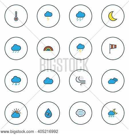 Climate Icons Colored Line Set With Thunderstroke, Weather After Rain, Solar And Other Windy Element