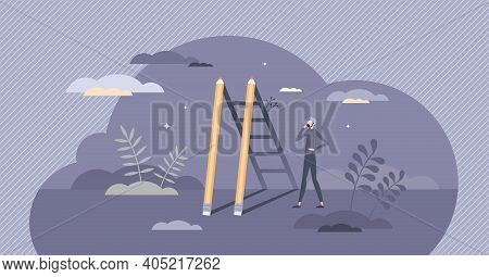 Creative Success And Stairway To Work Project Achievement Tiny Person Concept
