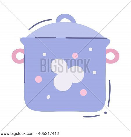 Cartoon Baby Food Saucepan With Lid And Two Knobses. Lidded Cooking Pan - Vector Isolated Illustrati