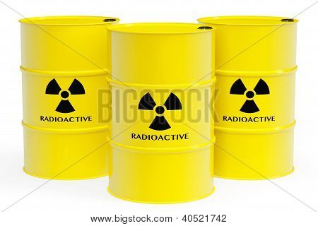 Yellow barrels with radioactive materials and warning sign on a white background poster