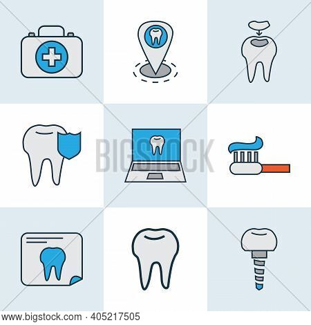 Enamel Icons Colored Line Set With Dentist Location, Dental Implant, Dental Fillings And Other Ename