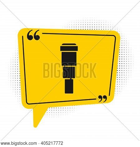 Black Spyglass Telescope Lens Icon Isolated On White Background. Sailor Spyglass. Yellow Speech Bubb