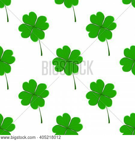 Illustration On Theme Irish Holiday St Patrick Day, Seamless Green Shamrock Clover. Pattern St Patri