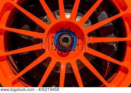 LONDON, UK - CIRCA JULY 2013: McLaren F1 GTR Longtail orange OZ Racing alloy detail