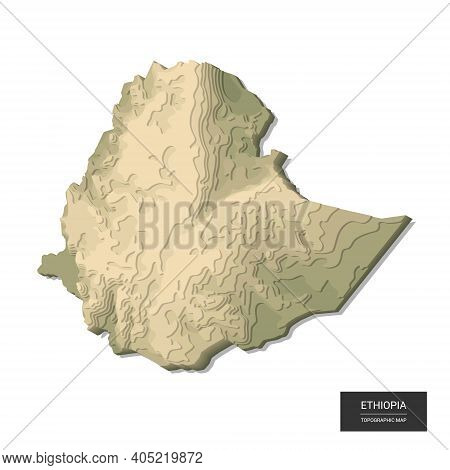 Ethiopia Map - 3d Digital High-altitude Topographic Map. 3d Vector Illustration. Colored Relief, Rug