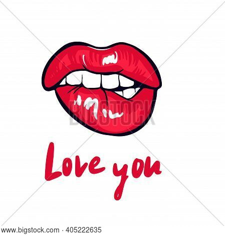 Red Sensual Lips, A Kiss With The Inscription Loveyou . Vector Illustration, Greeting Card, Poster,