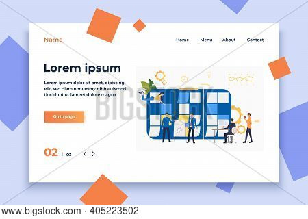 Employees Working On Project. Kanban Board, Presentation, Computer, Megaphone. Business Concept. Vec