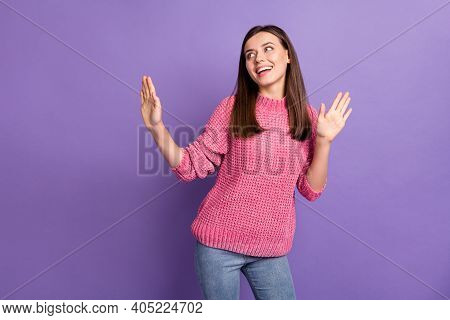 Photo Portrait Of Dancing Pretty Young Woman Enjoying Discotheque Looking Empty Space Isolated On Vi