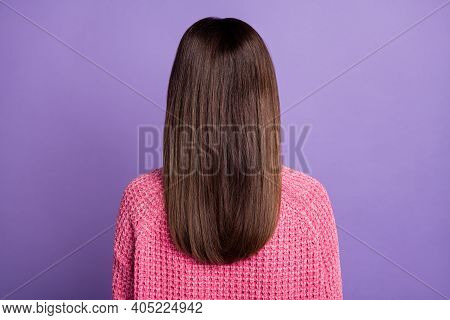 Back View Photo Portrait Of Young Woman With Dyed Brunette Hair Wearing Pink Pullover Isolated On Vi