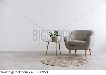 Modern Interior Design With Light Empty Mock-up Wall And Gray Furniture, Loft And Vintage Of Living