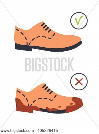 Unclean Dirty And Clean Footwear. Brown Color Flat Sole Trendy Brogue, Oxford Or Derby Shoes. Muddy