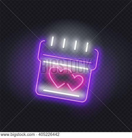 Neon Birthday Cake. Night Illuminated Wall Street Sign. Tasty Cake Neon Sign, Bright Signboard, Ligh