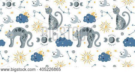 Celestial Boho Kids Seamless Pattern With Space Cat, Clouds, Sun, Moon And Stars, Celestial Sky Digi