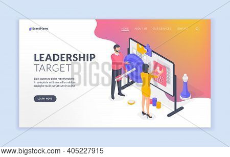Company Leaders Analyzing Target Data On Whiteboard. Banner Template. Isometric Vector Illustration