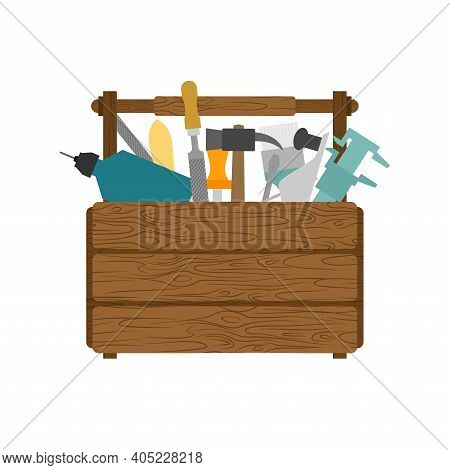 Full Toolbox With Tools. Wooden Tool Box. Hammer And Drill. Wrench And Vernier Caliper. Screwdriver