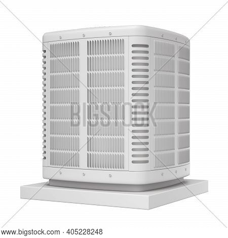 Clay Render Of Heating And Air Conditioner Unit On The Stand - 3d Illustration