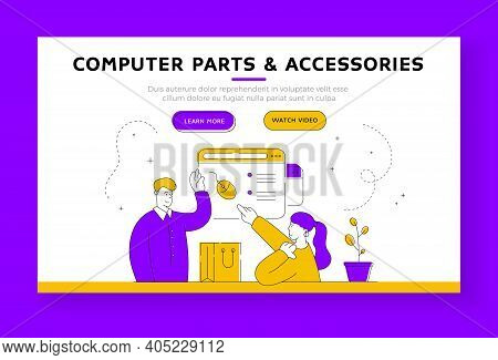 Woman Chooses Computer Peripherals In Online Store. Banner Template