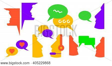 Dialogue Chat Balloons. Call To Technical Support. Flat Vector Illustration Isolated On White. Neon