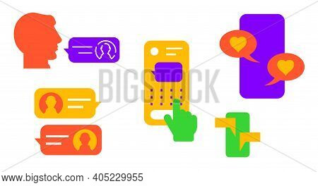 Mobile Chat Messaging. Flat Vector Illustration Isolated On White. Neon Colors.