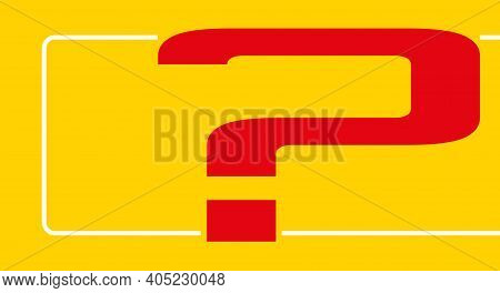Big Question Mark On Yellow Background. Flat Vector Illustration Isolated On Yellow.