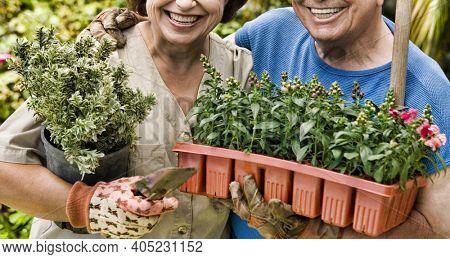 Portrait of senior couple happy gardening