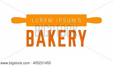 Bakery Sign With Rolling Pin. Flat Vector Illustration Isolated On White.